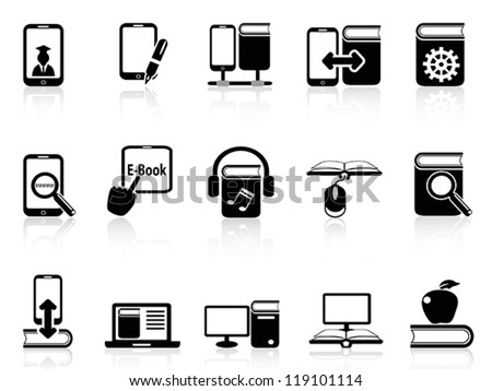 digital books and e-books icons - stock vector