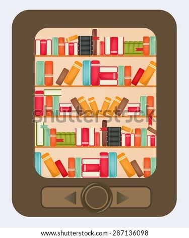 Digital Books. Ebooks. E-reader. Book Shelf on Tablet PC. Vector illustration. - stock vector