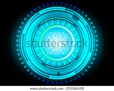 Digital brain abstract for intelligence future technology concept, vector illustration - stock vector