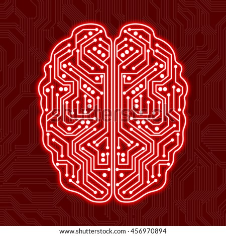 Digital brain on a red background - stock vector
