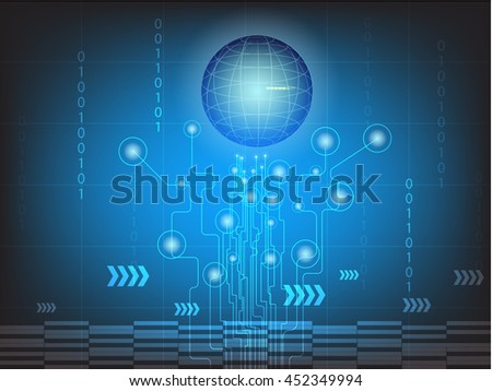 Digital  business background,vector tech circle and technology background.