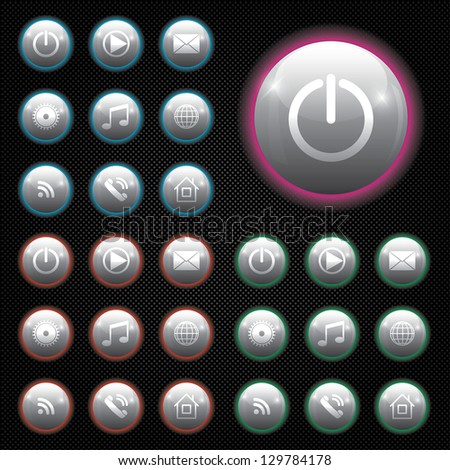 digital buttons for applications with neon lighting. For dark background.eps10 - stock vector