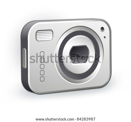 digital camera an a white background - stock vector