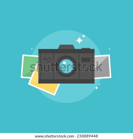 Digital camera with instant picture frames. Flat icon modern design style vector illustration concept. - stock vector