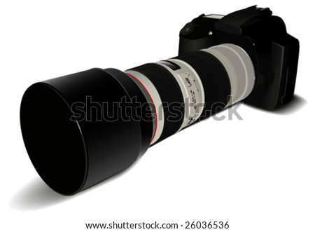 Digital camera with long lens on white background in vector - stock vector