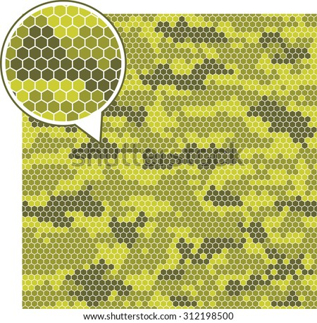 Digital camouflage seamless patterns - vector hexagons. - stock vector