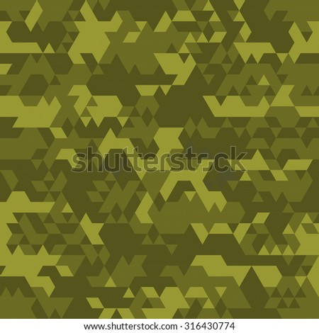 Digital camouflage seamless patterns - vector set triangles. - stock vector
