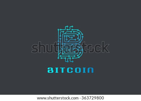 Digital Chip Bitcoin Logo design vector template. Fintech Blockchain Letter B Logotype icon - stock vector