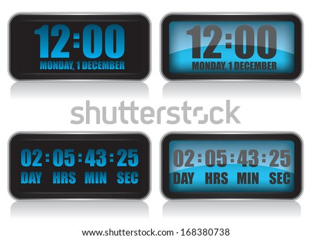 Digital clock and countdown illustration - stock vector
