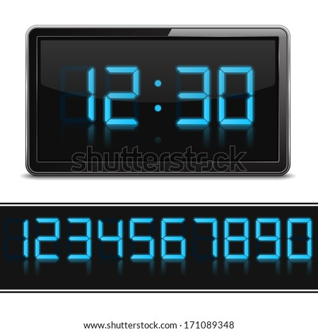Digital clock and set of glowing numbers, vector eps10 illustration - stock vector