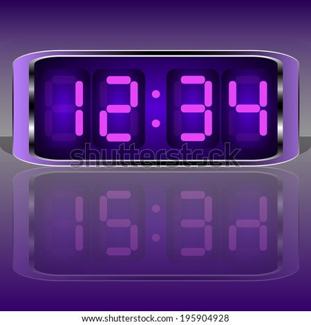 Digital Clock . Digital Number. Vector illustration