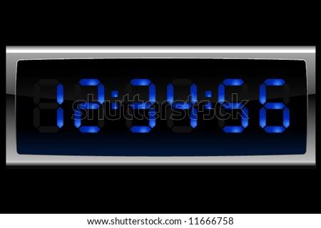 Digital clock in blue - stock vector