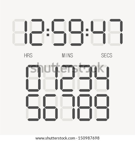 Digital clock & number set - stock vector
