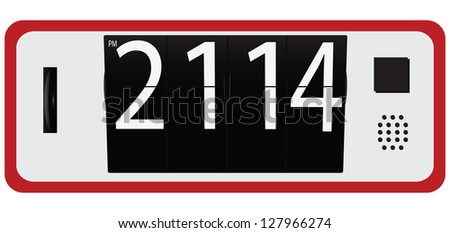 Digital clock with changeover numbers. Vector illustration. - stock vector