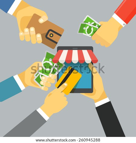 Digital commerce illustration. Online shopping with modern device - stock vector