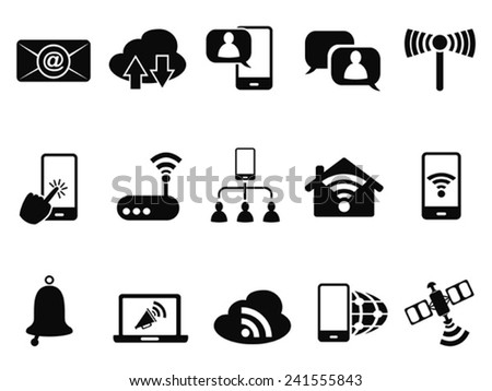 digital communication icons set