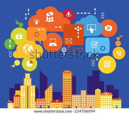 Digital Community. Concept social media city  - stock vector