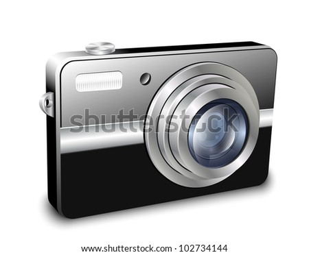 Digital compact photo camera. Vector illustration - stock vector