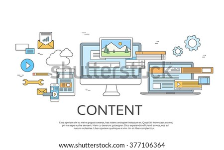 Digital Content Information Technology Set Icons Vector Illustration - stock vector