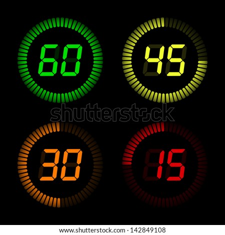 Digital Countdown Timer - stock vector