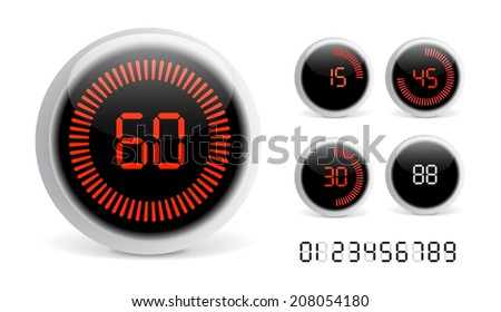 Digital Countdown Timer - stock vector