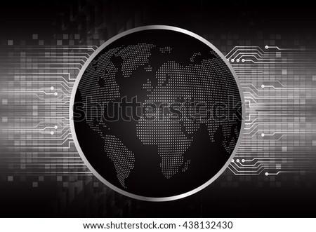 digital data background,black abstract light hi tech pixel internet technology, Cyber security concept, Cyber data digital computer. world map - stock vector