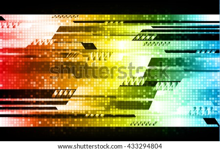 digital data background,red yellow blue abstract light hi tech pixel internet technology, Cyber security concept, Cyber data digital computer, move motion vector - stock vector