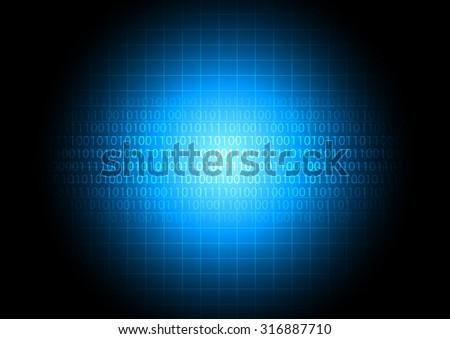 Digital data transfer on blue monitor for technology digital abstract, vector illustration - stock vector
