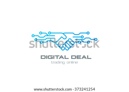 Digital Deal Online Contract Handshake Logo design vector template linear style. Shaking hands Partnership Friendship business Logotype concept outline icon. - stock vector