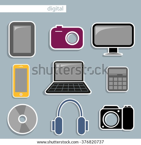 digital devices. Flat icons