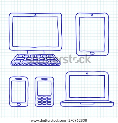 Digital devices hand drawn - stock vector