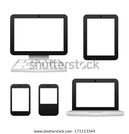 digital devices icons - stock vector