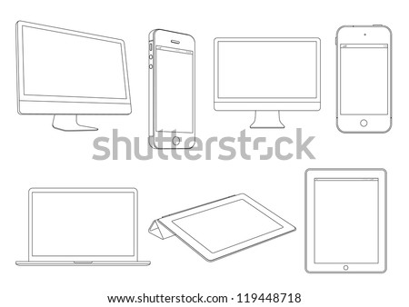 Digital devices.Vector set - stock vector