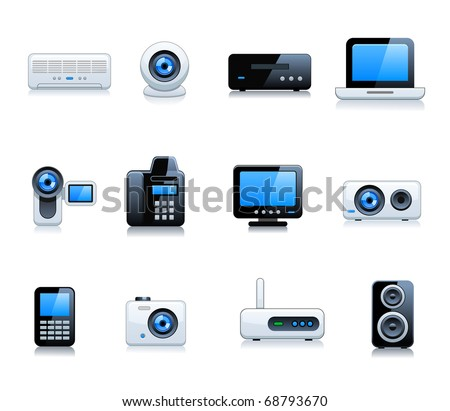 Digital Electrical Appliance Icon Set