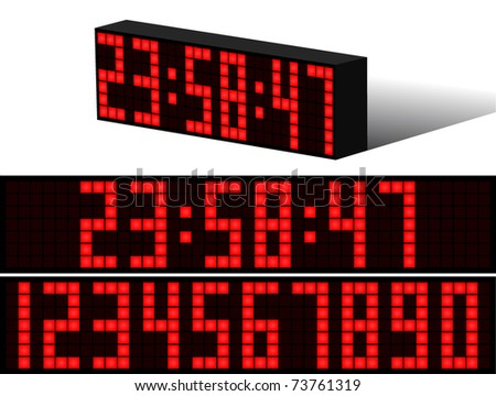 Digital Electronic clock alarm red numbers black background - stock vector