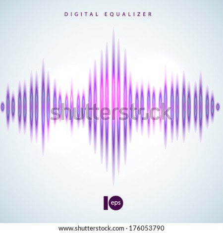 Digital equalizer wave on white background