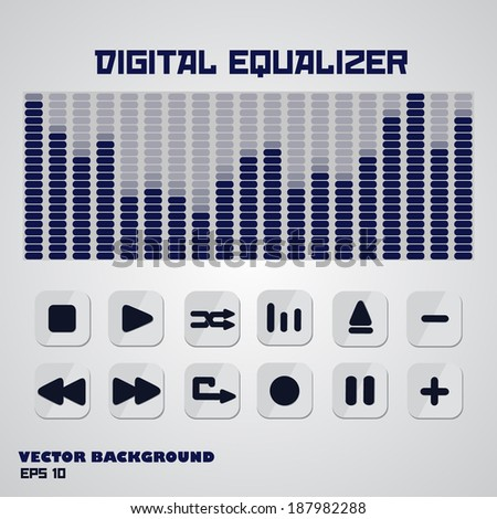 Digital equalizer with multimedia buttons. Vector, EPS 10. - stock vector