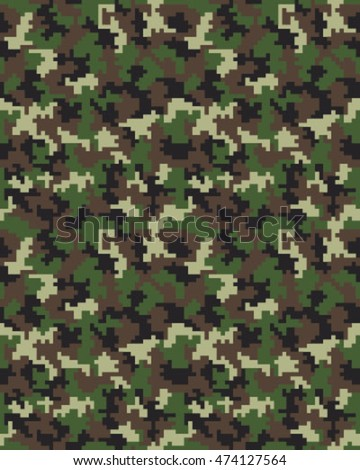 Digital fashion camouflage pattern, seamless vector