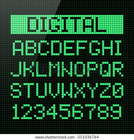 Digital font, alphabet and numbers. Vector. - stock vector