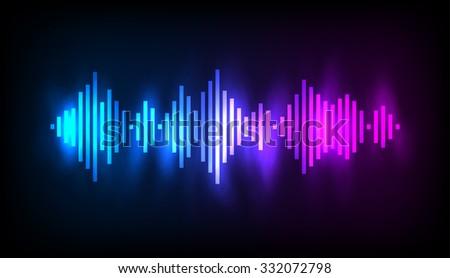 Digital glowing colorful Equalizer. Vector illustration.
