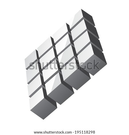 Digital gray cubes made square isolated on a white background