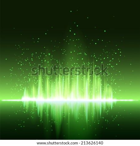 Digital green light Equalizer background. Vector illustration