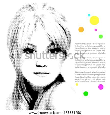 Digital halftone portrait of beautiful young girl. Vector illustration.  - stock vector