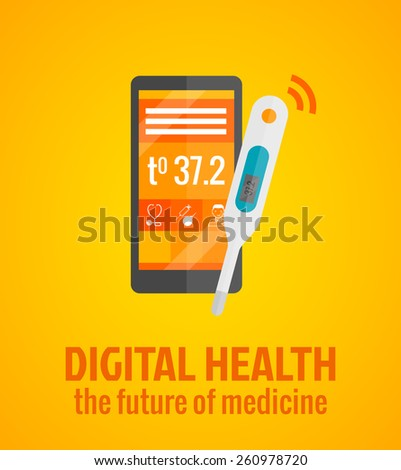 Digital health concept with smartphone and thermometer flat vector illustration - stock vector