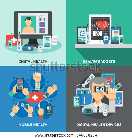 Digital health design concept set with mobile diagnostics flat icons isolated vector illustration - stock vector
