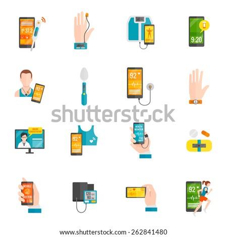 Digital health emergency medical consultation flat icons set isolated vector illustration - stock vector