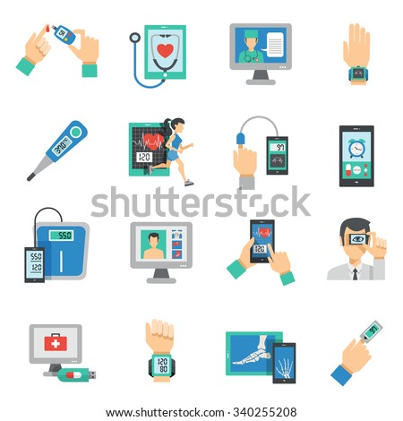 Digital health icons flat set with medical technologies symbols isolated vector illustration - stock vector