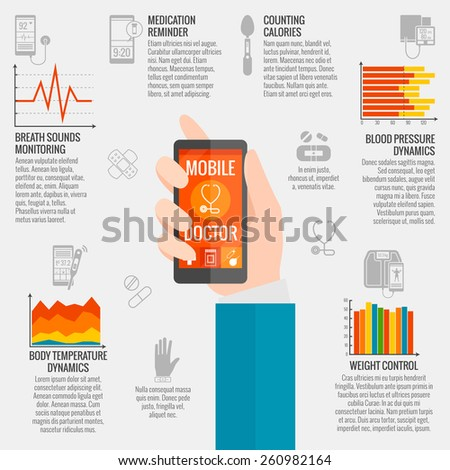 Digital health infographic set with medical monitoring technology symbols vector illustration - stock vector