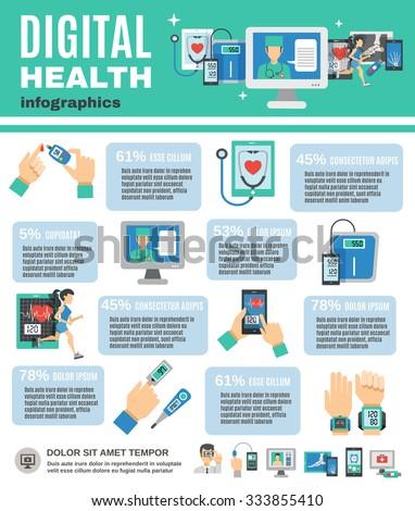 Digital health infographics set with mobile diagnostics and telemedicine symbols vector illustration - stock vector