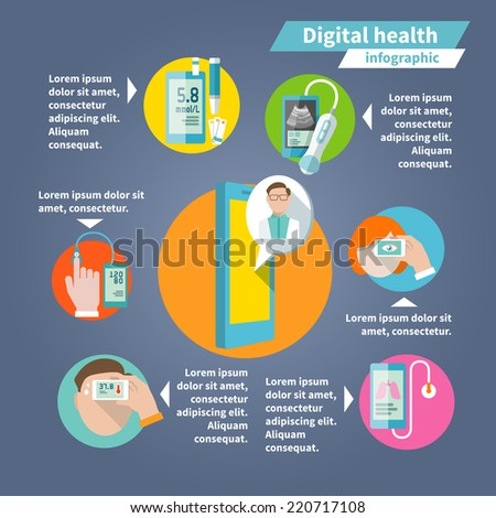 Digital health mobile medicine flat infographics set vector illustration - stock vector